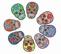 Iron On Patches Clothes DIY Clothing Fabric Badges Sewing Patches Skull Embroidered Patches P087