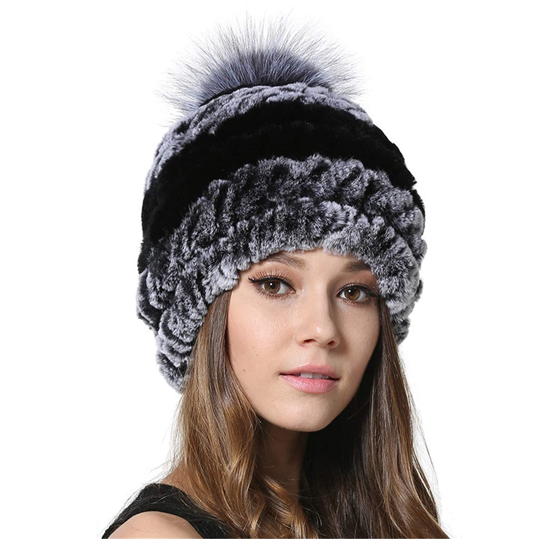 2fe546f0035 Get Quotations · Womens Bobble Hat Beanies with Silver Fox Fur Ball Winter  Rex Rabbit Fur Hats