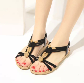 400dfd478 Summer Fashion Flip Flops Women s Beach Sandals String Bead Black Elastic  Bands Flat Shoes Gladiator for