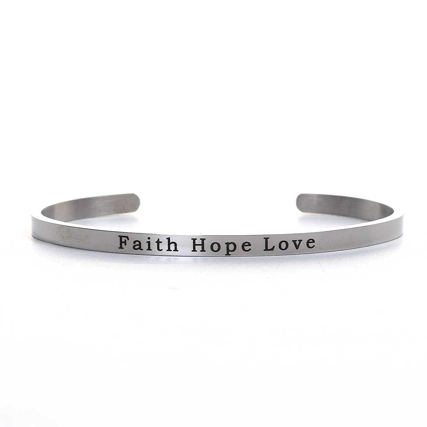 SEXY SPARKLES Stainless Steel Faith Hope Love Positive Quotes Energy Open Cuff Bangle Bracelet