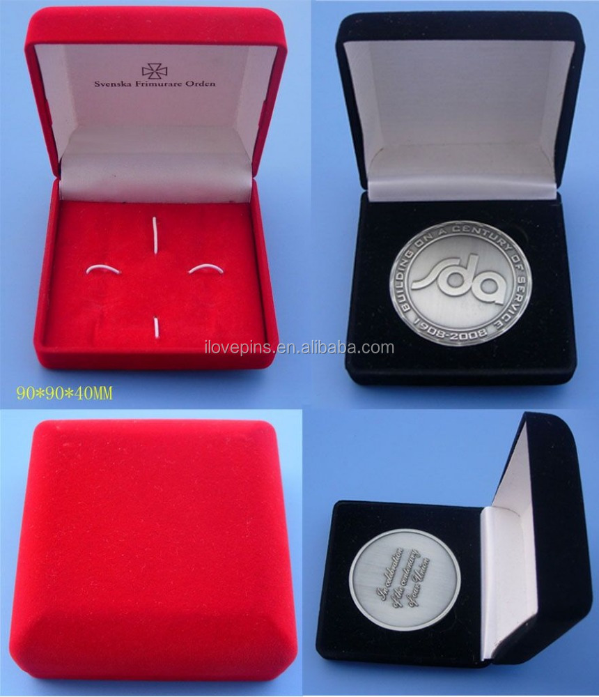 double logo engraving 3D coins with Velvet box