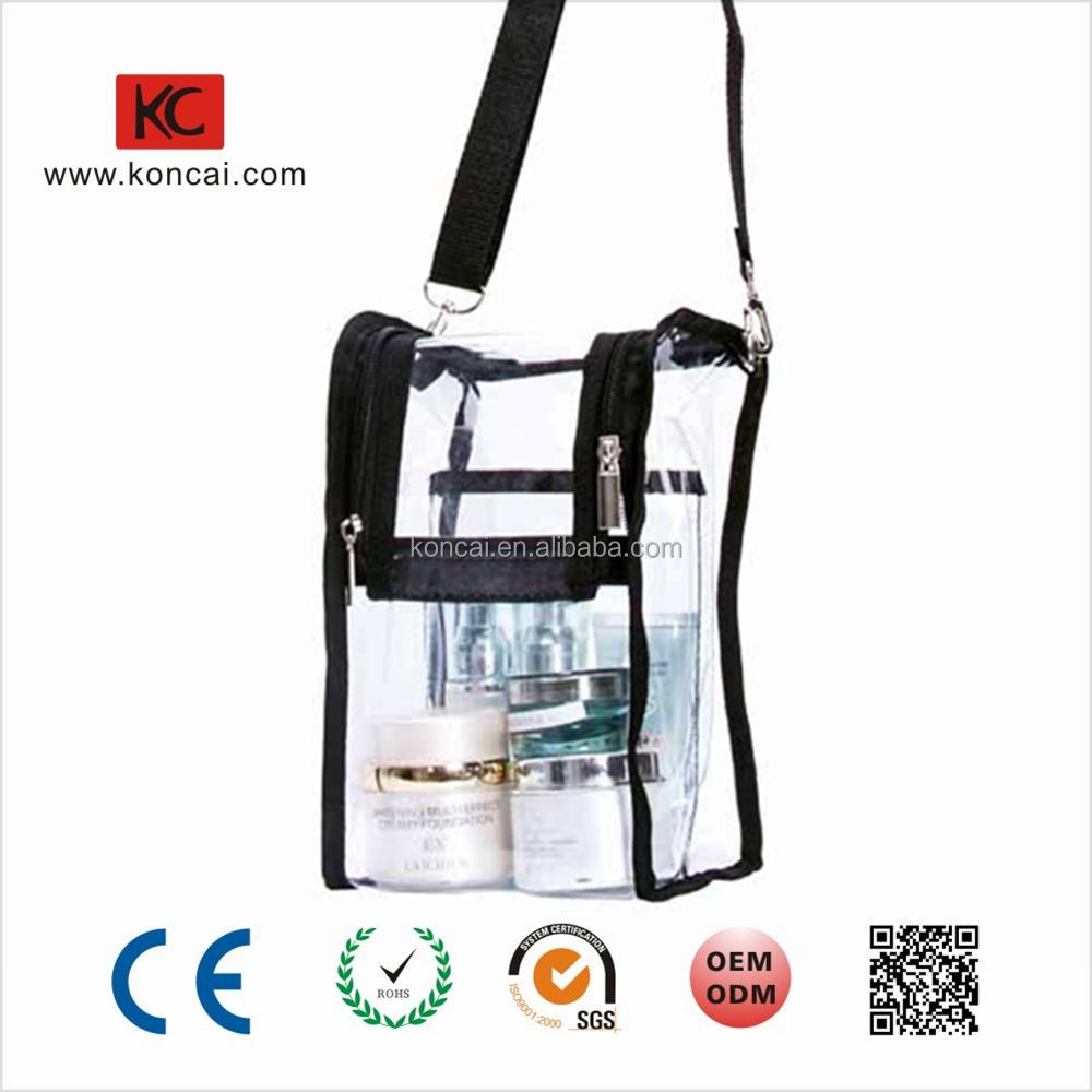 Metal Zipper Clear PVC Crossbody Bag For Small Party Makeup Bag