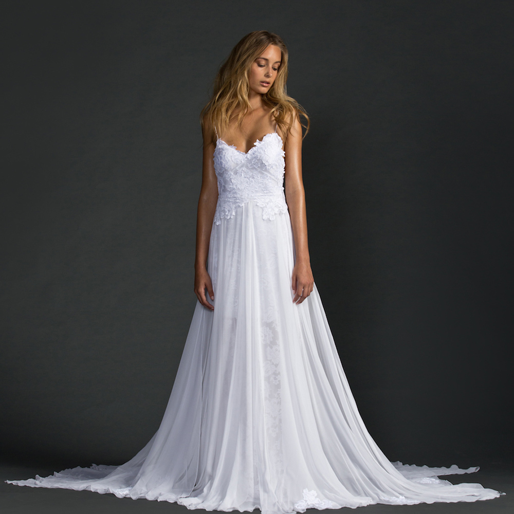 2016 White Bohemian Lace Wedding Dresses A Line Spaghetti