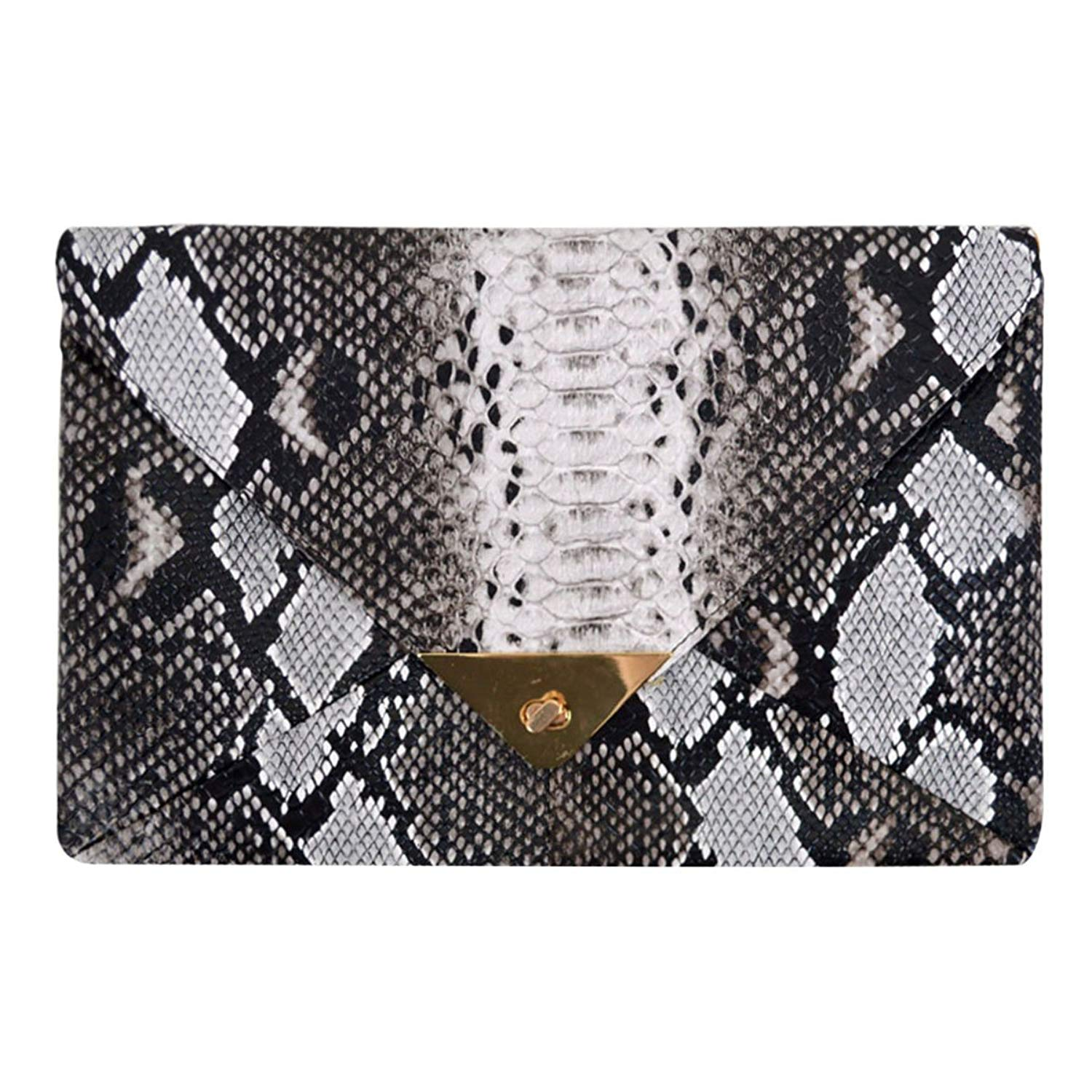 7fb0f16425 Get Quotations · CLARA Women Fashion Snakeskin Clutch Handbag Envelope Bag  Chain Shoulder Bag Evening Party Bag