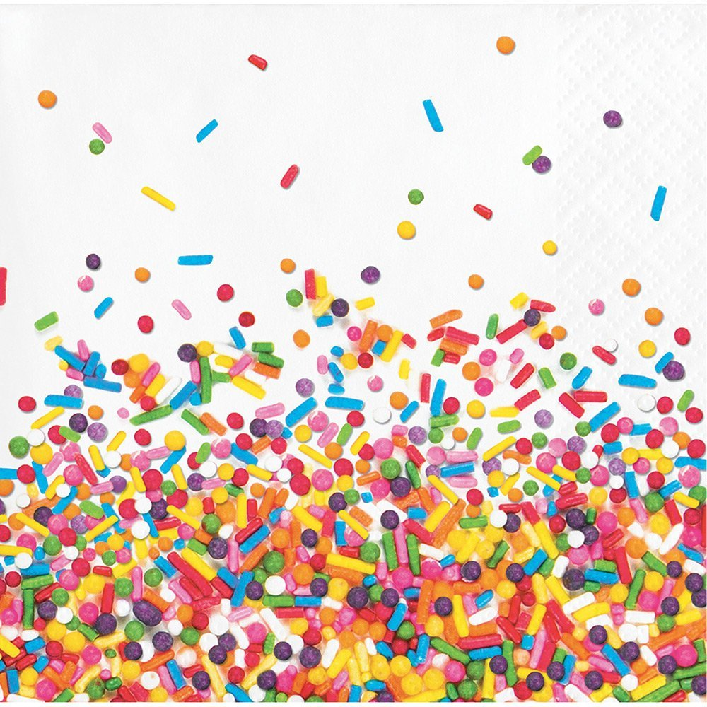 """Creative Converting 324665 192-Count Beverage Paper Napkin, Sprinkles, Beverage Paper Napkins, 5"""""""
