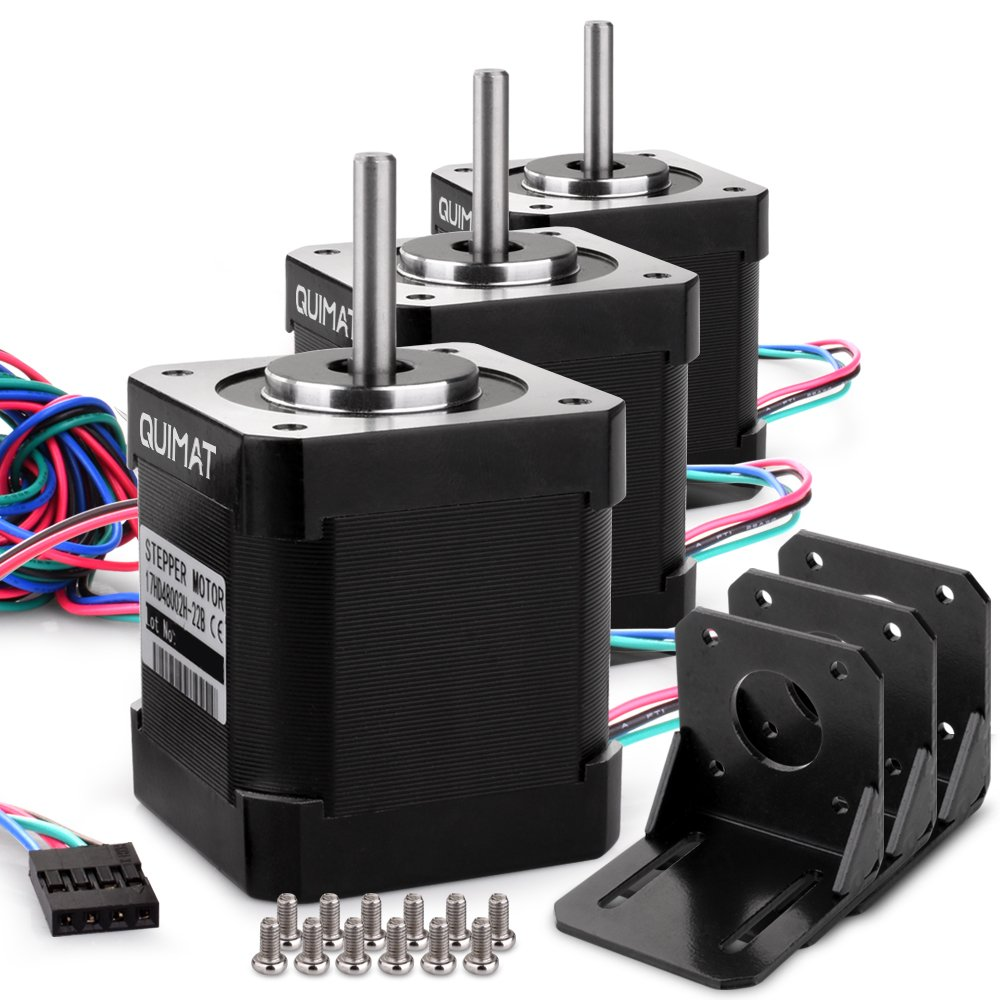 Stepper Motor Nema 17, Quimat 3Pcs Nema 17 Stepper Motor Bipolar 1.7A 84oz.in(59Ncm) 47mm Body 4-lead w/ 1m 4-Pin Cable and Connector with Mounting Brackets for 3D Printer/CNC