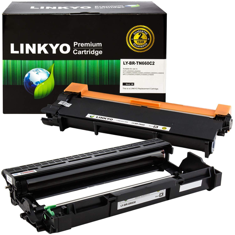 LINKYO Compatible Toner Cartridge and Drum Unit Set Replacement for Brother TN660 TN-660 DR630 DR-630 (1 Toner Cartridge, 1 Drum Unit)