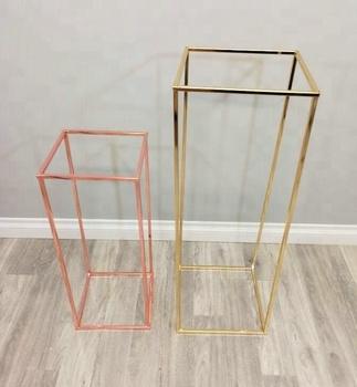 Wedding Rectangle Gold Metal Stand Frame Tall Centerpiece Stands