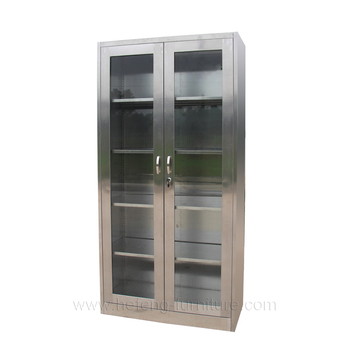 Restaurant Glass Door Storage Cabinet Stainless Steel Display
