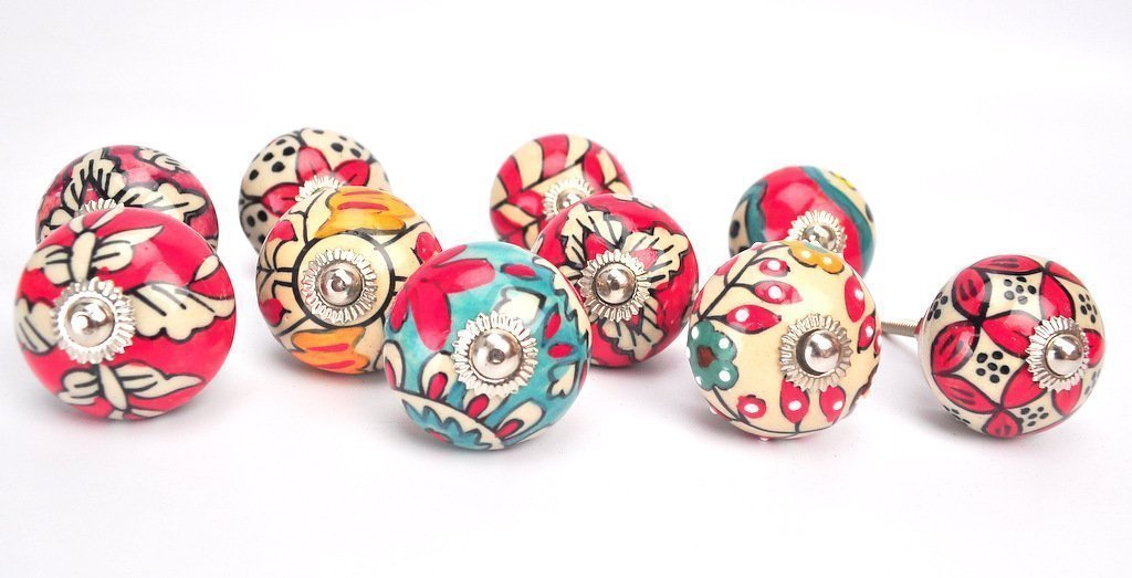 STREET CRAFT Ornate Red Floral Ceramic Knobs For Cabinets Cupboards Hand Painted Pulls Set of 10 Red