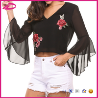 2017 New Flare Sleeve Floral Embroidery Backless Women Tops