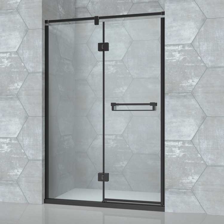 Black Steel Frame Hinge Glass Shower Door D81