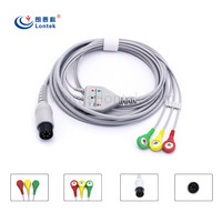 One piece series 3 lead wire patient ECG/EKG cable in AHA type with CE and ISO 13485 approved