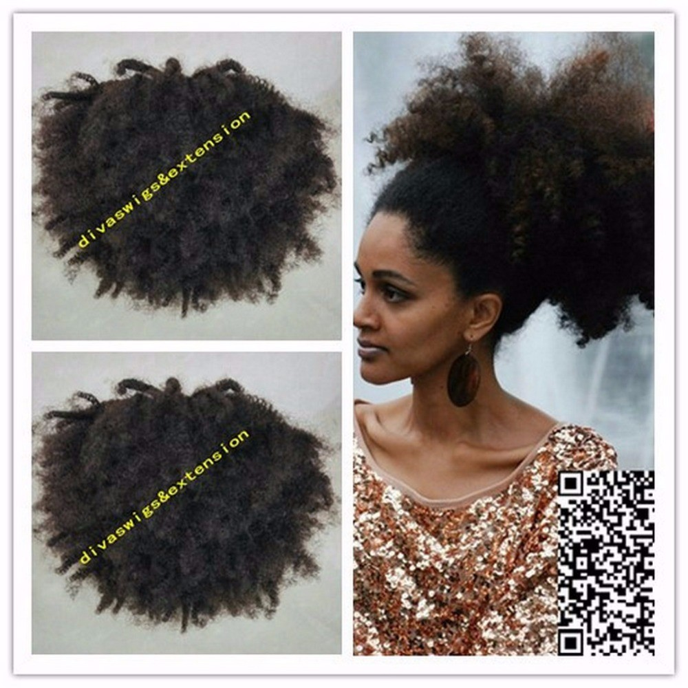 Short High Human Hair Buns Afro Kinky Curly Clip In Hair Extension