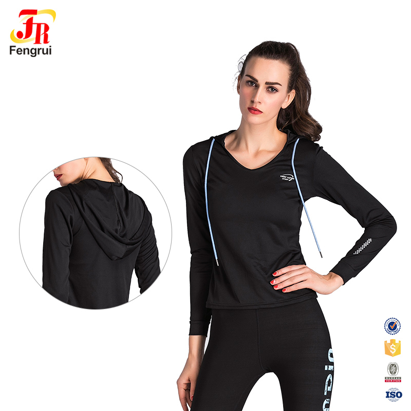womens sportswear clothing top quality fashion sexy sports yoga long sleeve shirts with hood black