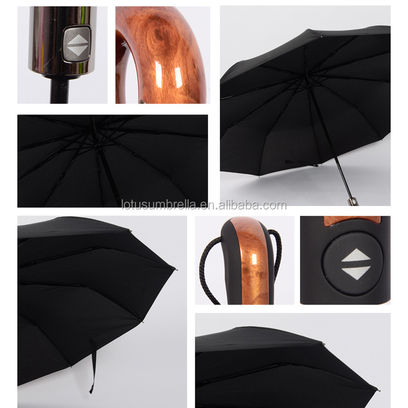 Classic English style Umbrella Men Automatic 10Ribs Strong WindResistant 3 Folding Umbrella Rain Business Male Quality Parasol