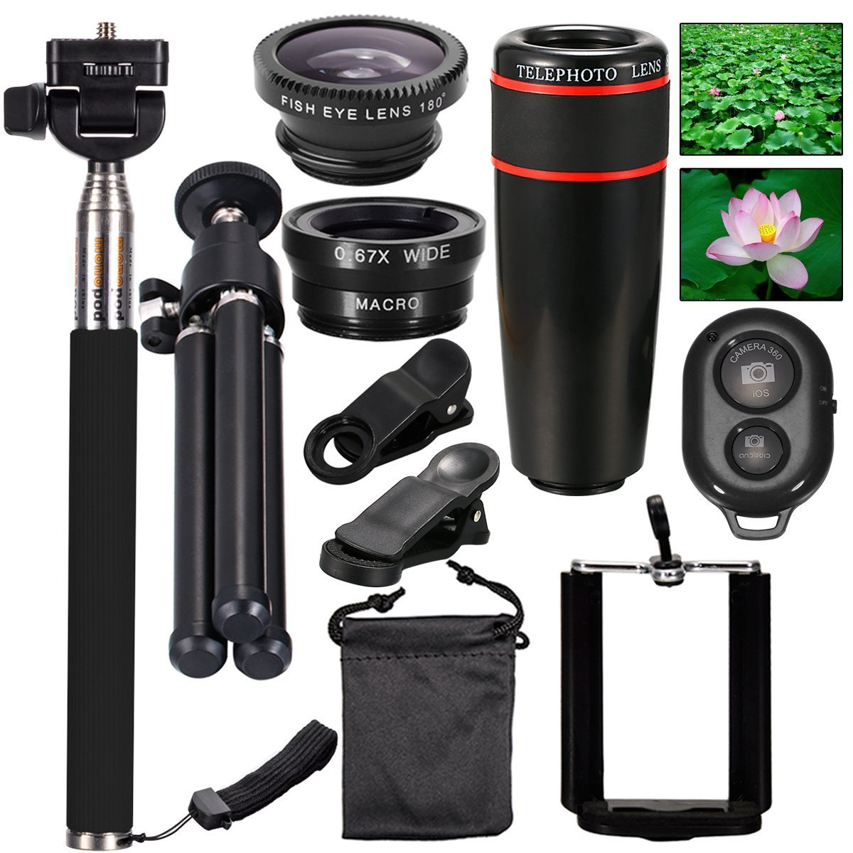 AFAITH Mobile Phones Lens 10-in-1 Lens Kit for Smartphone, 8x Telescope for telephoto / fisheye lens / 2 in 1 macro lens and remote control Selfie Stick Monopod + Bluetooth + Mini Tripod Monopod for iPhone 7 / iPhone 7 Plus, iPhone 6s / 6s Plus, Samsung Galaxy S8 / S8 / S7 / S7 / S6, Huawei P10 /