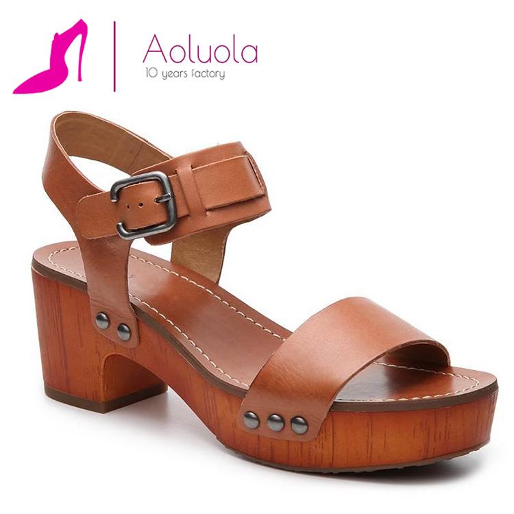 Wood Block Heel Rubber Sole Ankle Strap Studded Platform Sandal For Lady Buy Wood Block Heel Sandalankle Strap Sandalslady Sandals Product On