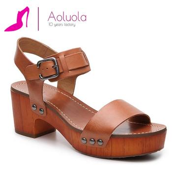 34efbb0d87 wood block heel rubber sole ankle strap studded platform sandal for lady
