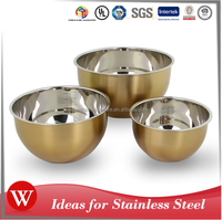 3pcs Stainless Steel Mixing Bowl Set with Copper or Golder Color