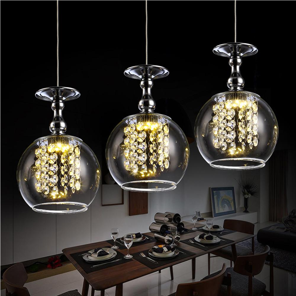 Vintage Crystal Glazen Bal Kroonluchter Verlichting LED Hanglamp ...