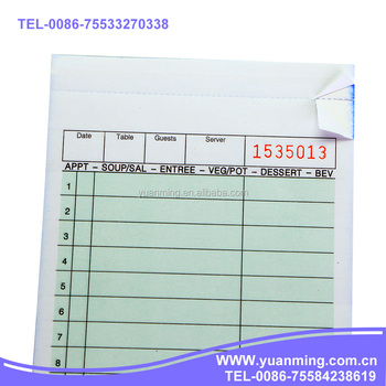 G Restaurant Duplicate Docket BookSales Order FormWaiter Order