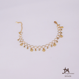 wholesale Jewelry 24K gold plating Rhinestone Fashion women Pure manual chain Bracelet and Anklet S0102