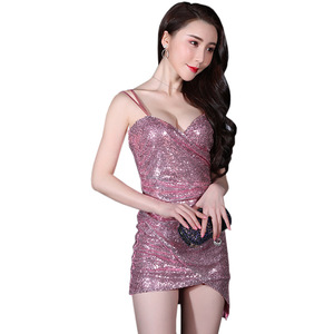 OEM service club women casual sexy sling dress sequins Low bosom cultivate one's morality