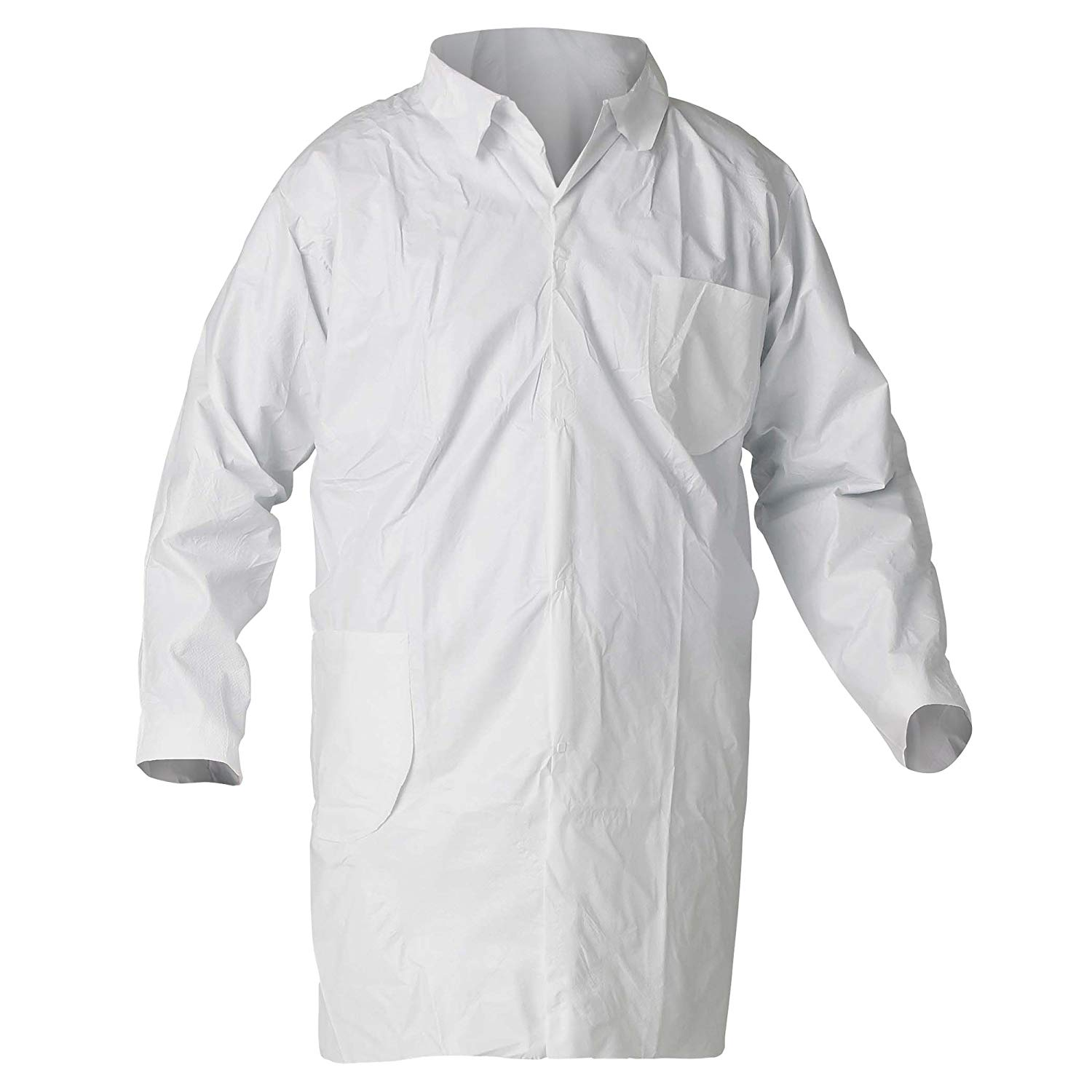 Kleenguard A40 Liquid & Particle Protection Lab Coats (44455), 4-Snap Closure, Knee Length, Open Wrists, White, 2XL, 30/Case
