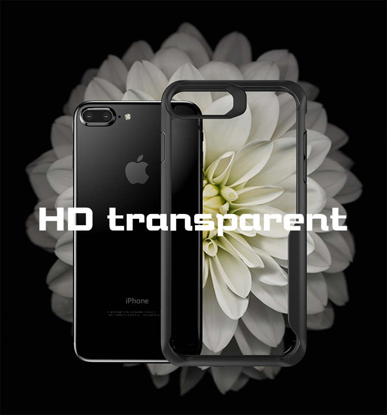 High quality Transparent TPU PC Mobile Phone Back Cover Case For iPhone 7 7 Plus