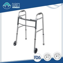 1.2mm thickness aluminum two - button patient adult children rehabilitation wheeled aluminum folding patient walker 2 wheels