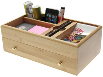 desk stationery box desktop supplies organiser with drawer made of natural bamboo storage
