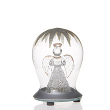 bell shape clear christmas led light glass ball with angel inside