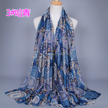 printed flower viscose scarf muslim hijab cotton voile headband muslim wrap long scarves/shawls GBS351