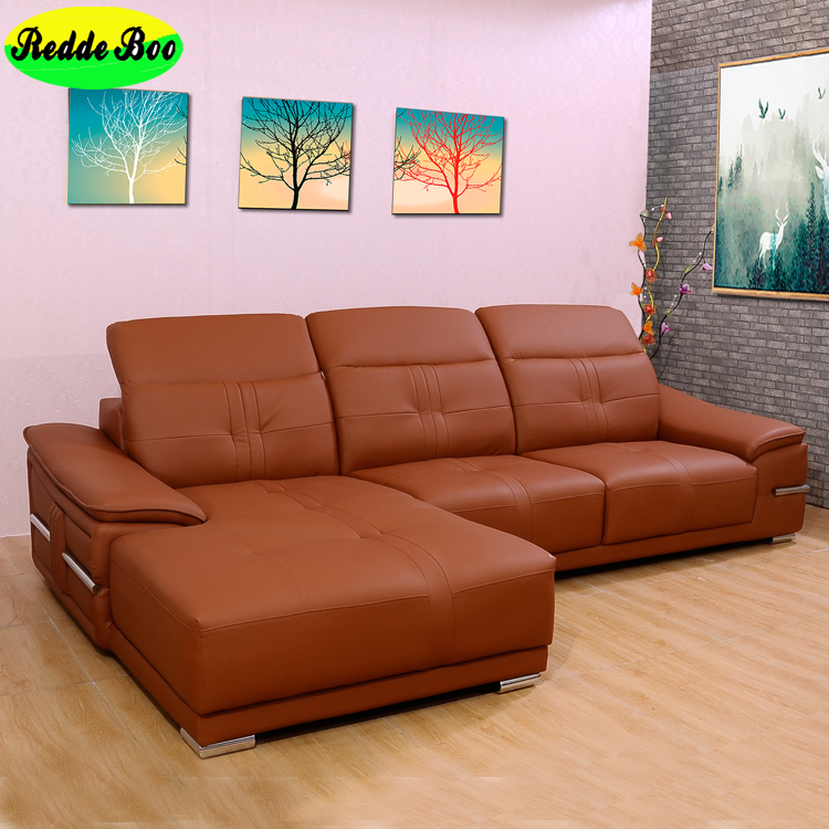 Brown Pure Leather Sofa Polish Style With Wooden Legs
