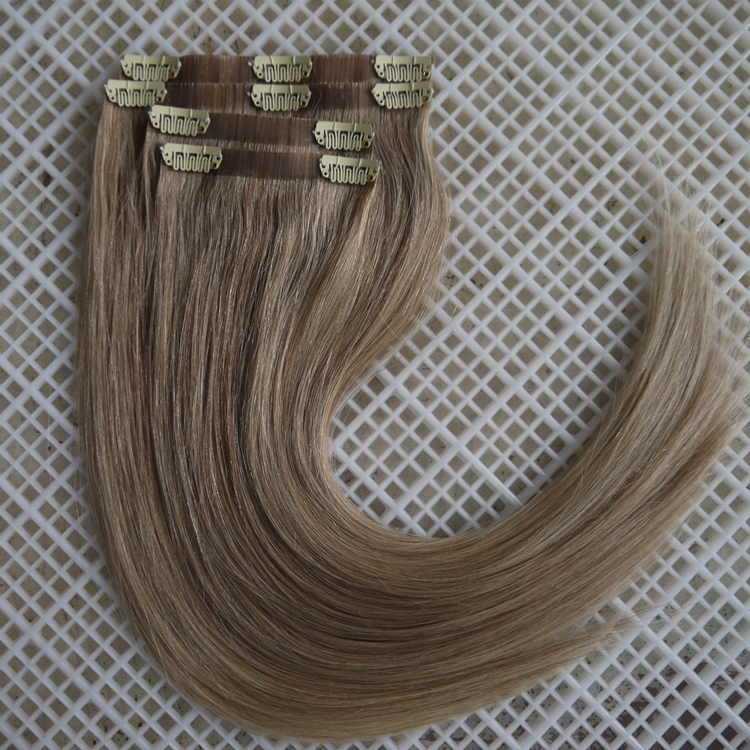 Fast deliver high quality mixed colors pu weft clip in virgin brazilian straight hair