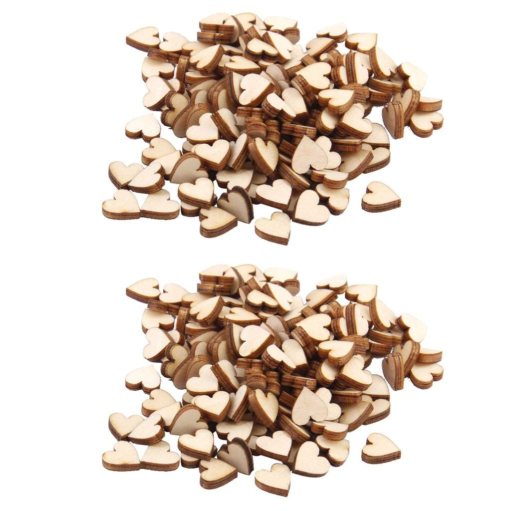 Flameer 2 x 200x Wooden Heart Embellishment Craft Cut 10mm for card making, embellishments, scrap booking, decoupage, sign making and many other art and craft projects.