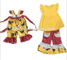 wholesale children's high quality clothes boutique girl turkey set ruffle capris fashion newborn baby clothing remark