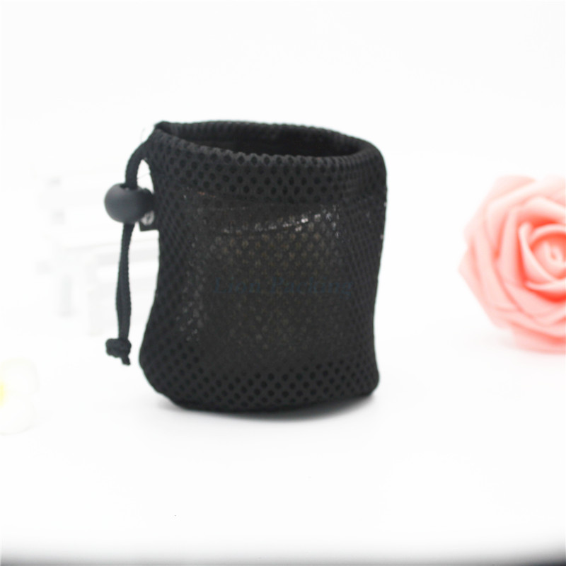 handmade mini black mesh pouch / custom drawstring mesh pouch bag for earphone