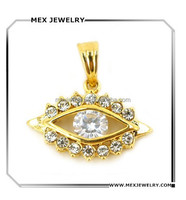Yellow Gold Hamsa Turkish Evil Eye CZ crystal rhinestone Charm Pendant for necklace jewelry