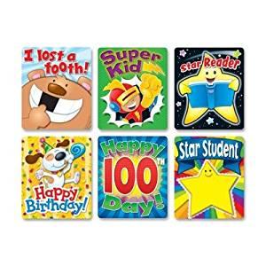 Carson-Dellosa Braggin Badges Colorful Sticker - Happy Birthday, I lost a tooth!, Super Kid, Star Student, Happy 100th Day!, Star Reader - 2.8quot; x 3.5quot; - Multicolor