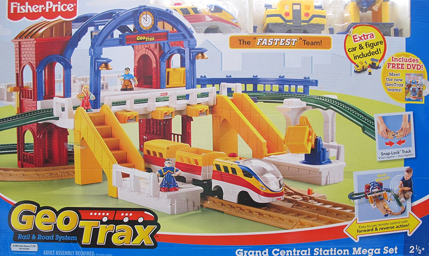 "GEOTRAX Geo Trax REMOTE Control GRAND CENTRAL STATION 'MEGA' TRAIN SET w ""SOUNDS"", The FASTEST Team & CONFUSED Team (Total 4 FIGURES) & More! (2007)"