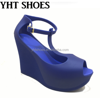 7b523807e831 2018 Women Jelly Wedges Sandals Peep Toe Platform Jelly Bean Shoes ...