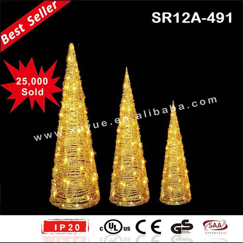 Light Up 3pcs Led Christmas Cones Set