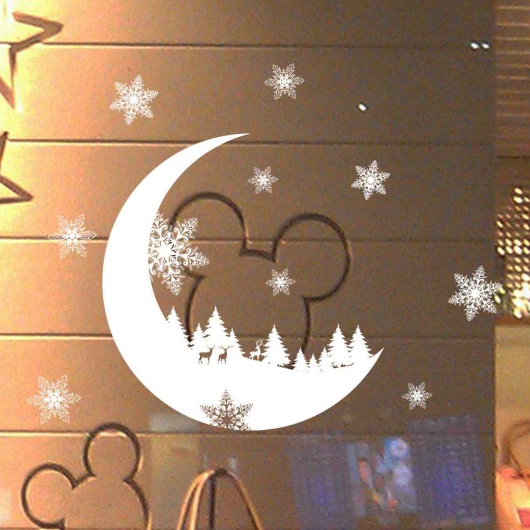 Leedford-Wall Stickers, Christmas Snow Christmas Snow Decoration Bedroom Wall Stickers WallpaperI (White)
