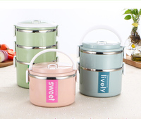 3 Layer Lear Proof Bento Thermos Kids Lunch Box Stainless Steel ,Insulated Thermal Food Container ,Kids Food Flask Set Vacuum