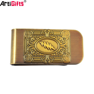 Customized 3D design metal titanium plated brass money clip with logo