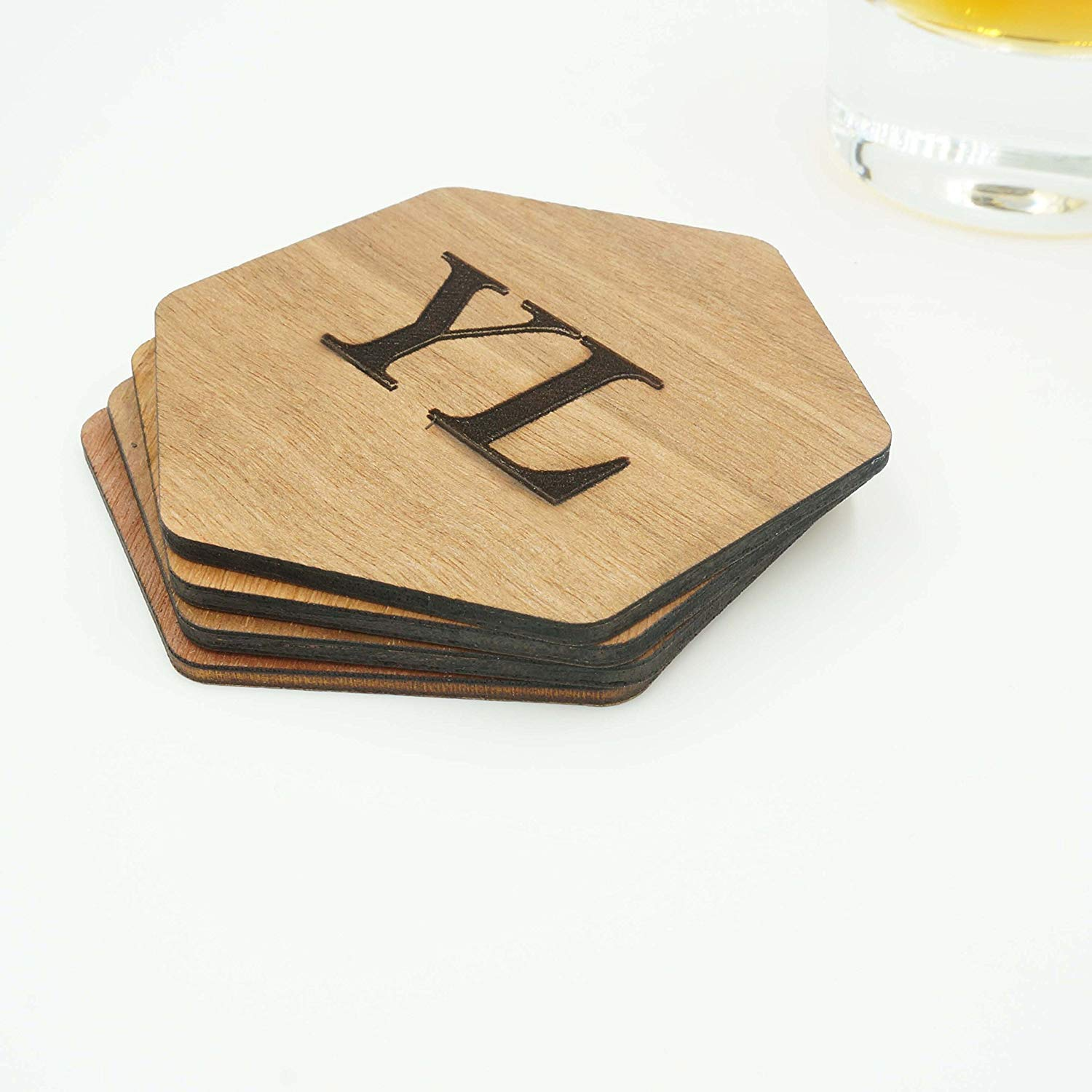 Custom Modern Hexagon Wooden Coasters Name Initials Wedding Coasters Personalized Engraved Cut Drink Holders Whiskey Gift Idea