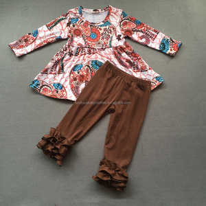 Newest design elephant printed dress top with brown icing ruffle pants remake baby girls cotton winter outfit