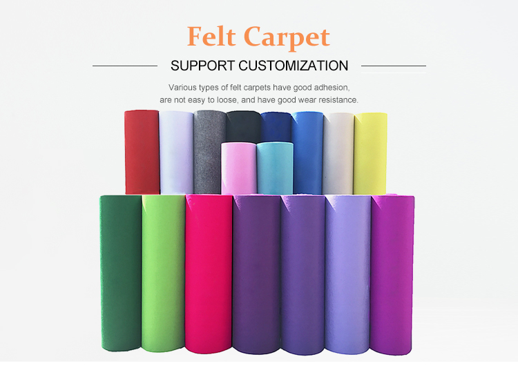 Customized Soundproof Needle Felt Red Square Felt Carpet Fringe For Auditorium